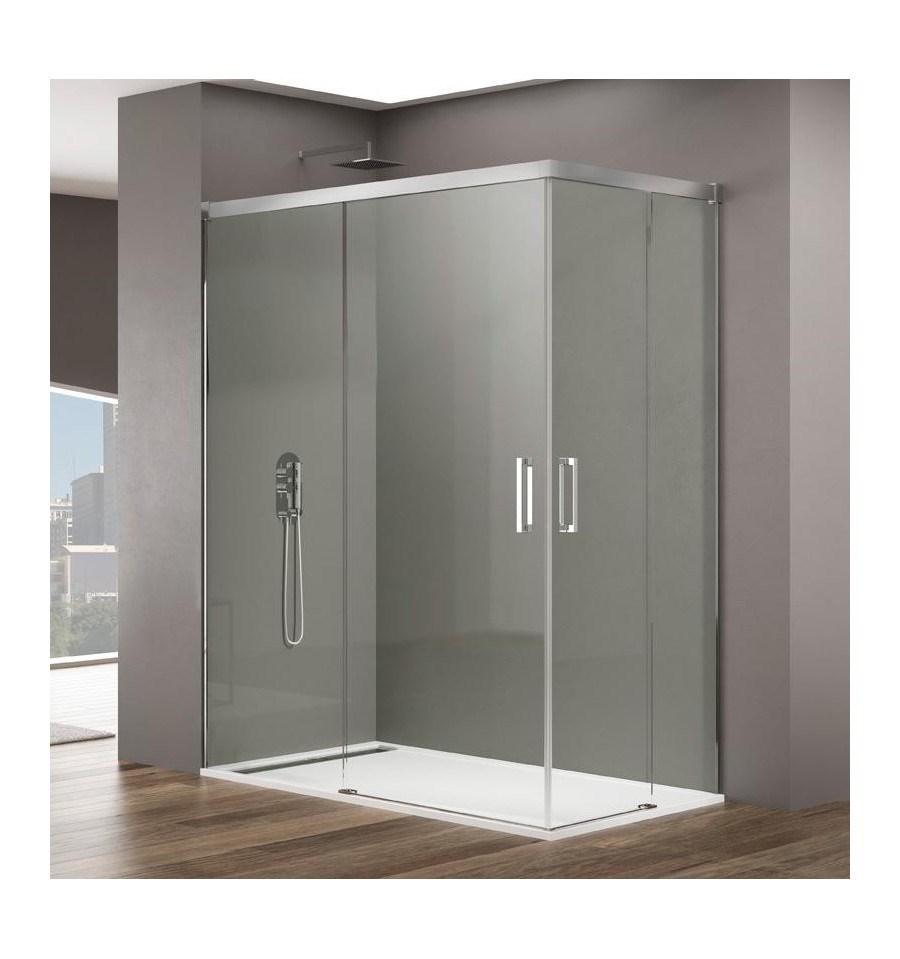 Mampara de ducha en esquina basic de gme 2 fijos 2 for Mampara ducha esquina